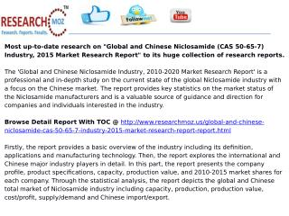 Global and Chinese Niclosamide (CAS 50-65-7) Industry, 2015 Market Research Report