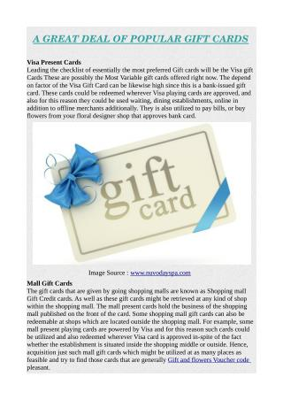 A GREAT DEAL OF POPULAR GIFT CARDS