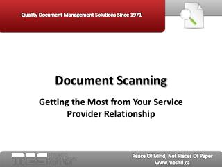 Document Scanning: Getting the Most from Your Service Provid