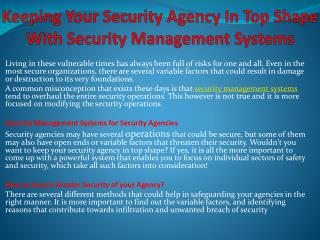 Keeping Your Security Agency In Top Shape With Security Management Systems
