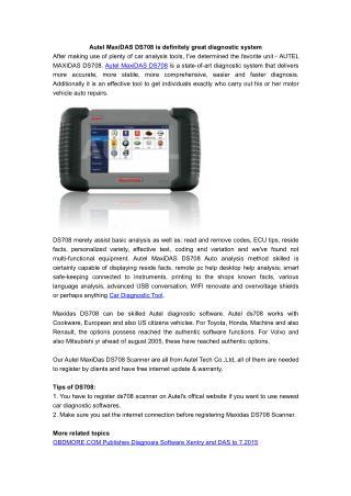 Autel MaxiDAS DS708 is definitely great diagnostic system