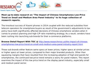 The Impact of Chinese Smartphones Low-Price Trend on Small and Medium Area Panel Industry