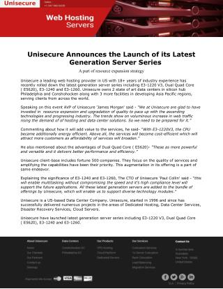 Unisecure Announces the Launch of its Latest Generation Server Series