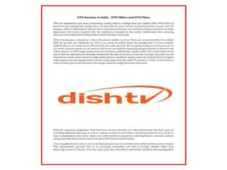 Get Best Dish TV HD Services & Plans, Packs in India Online