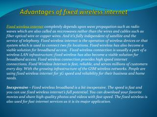 Advantages of fixed wireless internet
