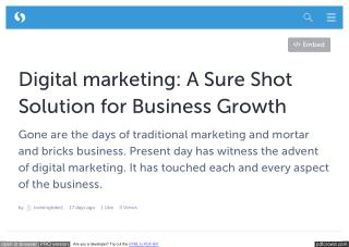 Digital marketing: A Sure Shot Solution for Business Growth