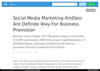 Social Media Marketing AndSeo: Are Definite Way For Business Promotion