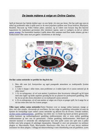De beste måtene å velge en Online Casino