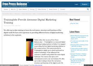 Traininglobe Provide Awesome Digital Marketing Training