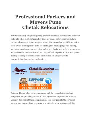 Professional Packers and Movers Pune Chetak Relocations