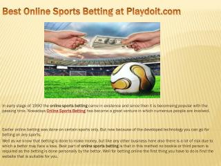 Best Online Sports Betting at Playdoit.com