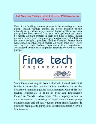 Get Watering Vacuum Pump For Better Performance In Gujarat
