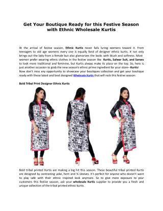 Get Your Boutique Ready for this Festive Season with Ethnic Wholesale Kurtis