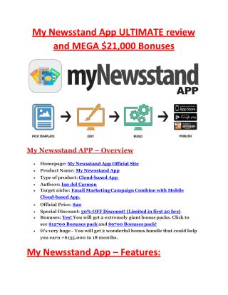 ULTIMATE review and $11000 bonuses of My Newstand  App