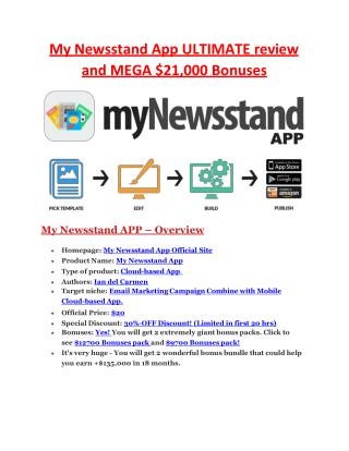 ULTIMATE review and $11000 bonuses of My Newstand  Apphttp://goo.gl/g8vrwSMy News-Stand Program's strategy is to get you