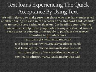 payday mini text loans uk no brokers @http://www.atextloans.co.uk/