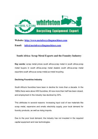 South Africa: Scrap Metal Exports and the Foundry Industry