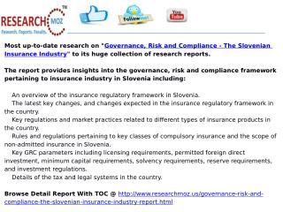 Governance, Risk and Compliance - The Slovenian Insurance Industry