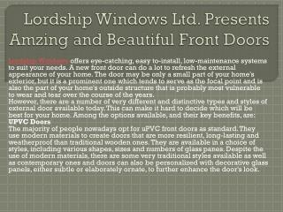 Lordship Windows Ltd. Presents Amzing and Beautiful Front Doors