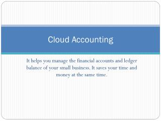 Save time and money through cloud accounting
