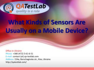 What Kinds of Sensors Are Usually on a Mobile Device?