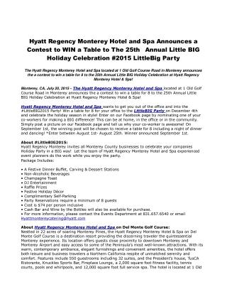 Hyatt Regency Monterey Hotel and Spa Announces a Contest