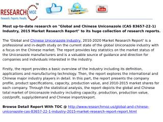 Global and Chinese Uniconazole (CAS 83657-22-1) Industry, 2015 Market Research Report