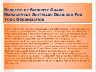 Benefits of Security Guard Management Software Designed For Your Organization