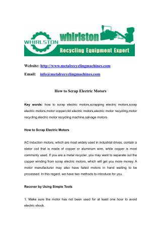 How to Scrap Electric Motors