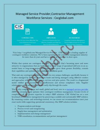 Managed Service Provider,Contractor Management Workforce Services : Cxcglobal.com
