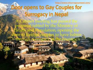 Door opens to Gay Couples for Surrogacy in Nepal