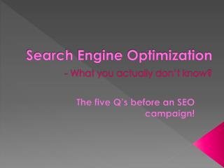 The Five Q's Before an SEO Campaign