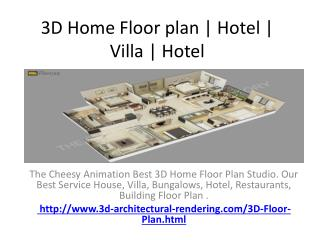 3D Home Floor plan | Hotel | Villa | Hotel