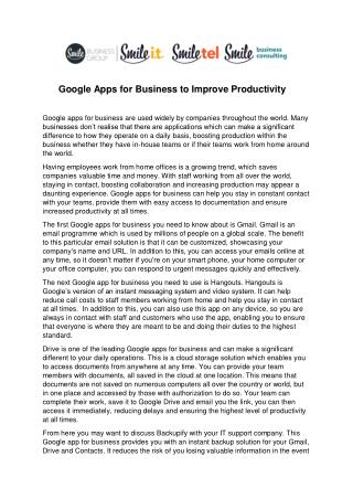 Google Apps for Business to Improve Productivity