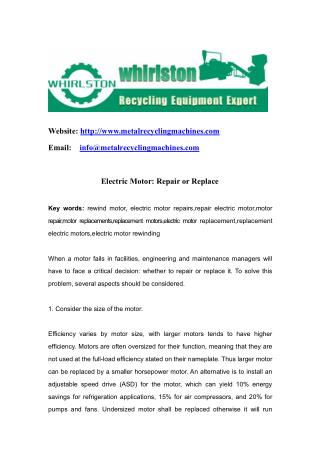 Electric Motor: Repair or Replace