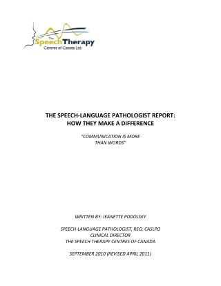 The Speech Therapy Centres of Canada