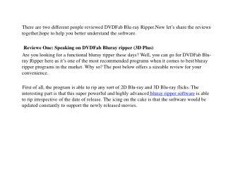 Speaking on DVDFab Bluray ripper (3D Plus)