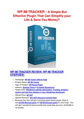 SPECIAL review of WP IM Tracker and Exclusive bonuses with  100 items