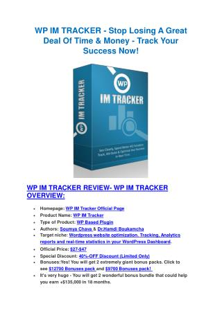 Ultimate review and 30% discount of WP IM Tracker