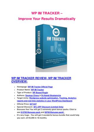 Particular review and EXCLUSIVE bonuses of WP IM Tracker