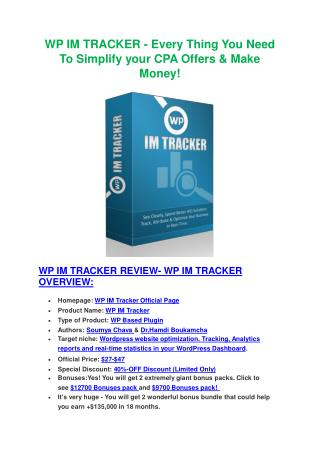 Demo Review of WP IM Tracker and big bonus packs