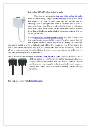 How to Buy USB OTG Cable Online in India