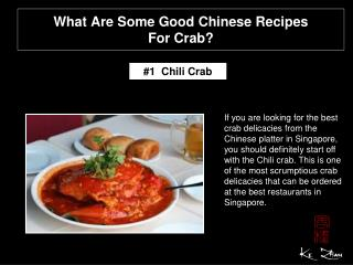 What are some good Chinese recipes for crab?