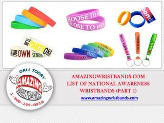 List Of National Awareness Wristbands Part 1