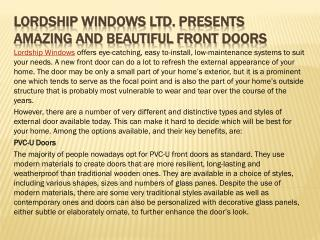 Lordship Windows Ltd. Presents Amazing and Beautiful Front Doors