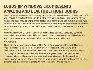 Lordship Windows Ltd. Presents Amazing and Beautiful Front Doors