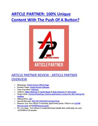 Article Partner review in detail and massive bonuses included