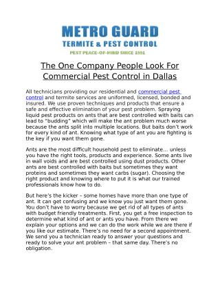 The One Company People Look For Commercial Pest Control in Dallas