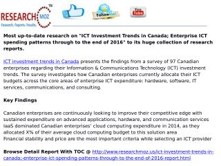 ICT Investment Trends in Canada; Enterprise ICT spending patterns through to the end of 2016