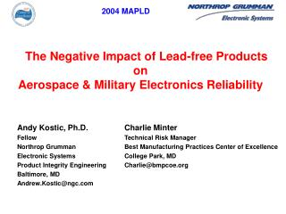 Charlie Minter Technical Risk Manager Best Manufacturing Practices Center of Excellence College Park, MD Charliebmpcoe